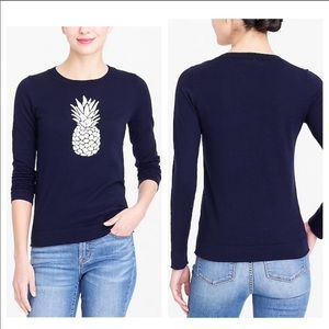 J. Crew Blue & White Pineapple Sweater